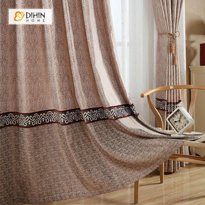 DIHINHOME Home Textile European Curtain DIHIN HOME Coffee Middle,Embroidered,Blackout Grommet Window Curtain for Living Room ,52x63-inch,1 Panel