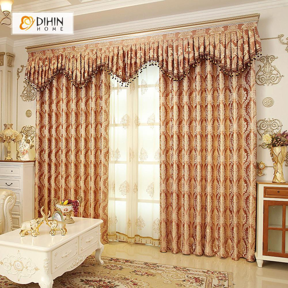DIHINHOME Home Textile European Curtain DIHIN HOME Coffee Noble Elegant Embroidered Valance ,Blackout Curtains Grommet Window Curtain for Living Room ,52x84-inch,1 Panel