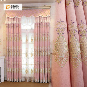 DIHINHOME Home Textile European Curtain DIHIN HOME Coffee Pattern Embroidered Pink Background,Blackout Curtains Grommet Window Curtain for Living Room ,52x84-inch,1 Panel