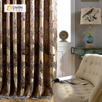 DIHINHOME Home Textile European Curtain DIHIN HOME Colorful Leaves Printed ,Cotton Linen ,Blackout Grommet Window Curtain for Living Room ,52x63-inch,1 Panel