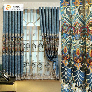 DIHINHOME Home Textile European Curtain DIHIN HOME Colorful Pattern Embroidered Valance ,Blackout Curtains Grommet Window Curtain for Living Room ,52x84-inch,1 Panel