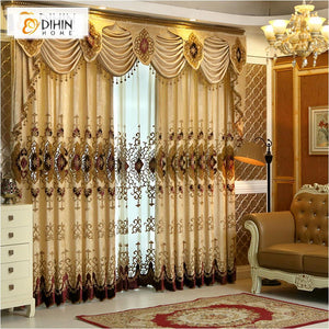 DIHINHOME Home Textile European Curtain DIHIN HOME Complex Pattern Embroidered Valance,Blackout Curtains Grommet Window Curtain for Living Room ,52x84-inch,1 Panel