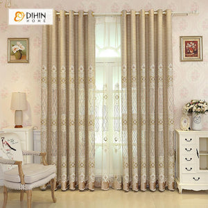 DIHINHOME Home Textile European Curtain DIHIN HOME Curve Embroidered,Blackout Curtains Grommet Window Curtain for Living Room ,52x84-inch,1 Panel