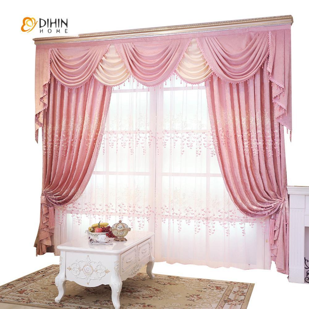 DIHINHOME Home Textile European Curtain DIHIN HOME Cute Love Embroidered,Blackout Grommet Window Curtain for Living Room ,52x63-inch,1 Panel