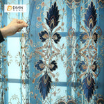 DIHINHOME Home Textile European Curtain DIHIN HOME Dark Blue Embroidered  Exquisite Valance,Blackout Curtains Grommet Window Curtain for Living Room ,52x84-inch,1 Panel