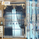 DIHINHOME Home Textile European Curtain DIHIN HOME Dark Blue High Quality Embroidered Valance ,Blackout Curtains Grommet Window Curtain for Living Room ,52x84-inch,1 Panel