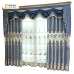 DIHINHOME Home Textile European Curtain DIHIN HOME Dark Blue Luxury Exquisite Embroidered Valance ,Blackout Curtains Grommet Window Curtain for Living Room ,52x84-inch,1 Panel