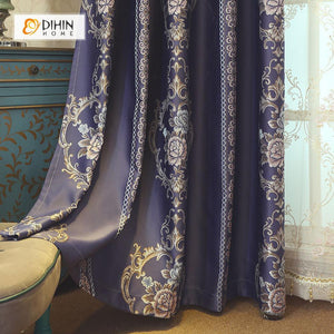 DIHINHOME Home Textile European Curtain DIHIN HOME Dark Color FLowers Embroidered,Blackout Grommet Window Curtain for Living Room ,52x63-inch,1 Panel