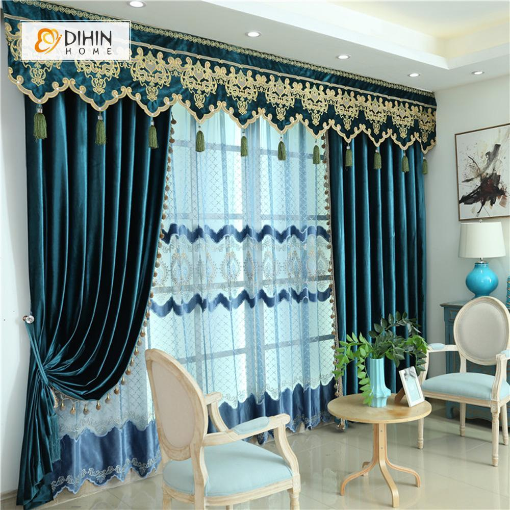 DIHINHOME Home Textile European Curtain DIHIN HOME Dark Color Velvet Exquisite Valance ,Blackout Curtains Grommet Window Curtain for Living Room ,52x84-inch,1 Panel