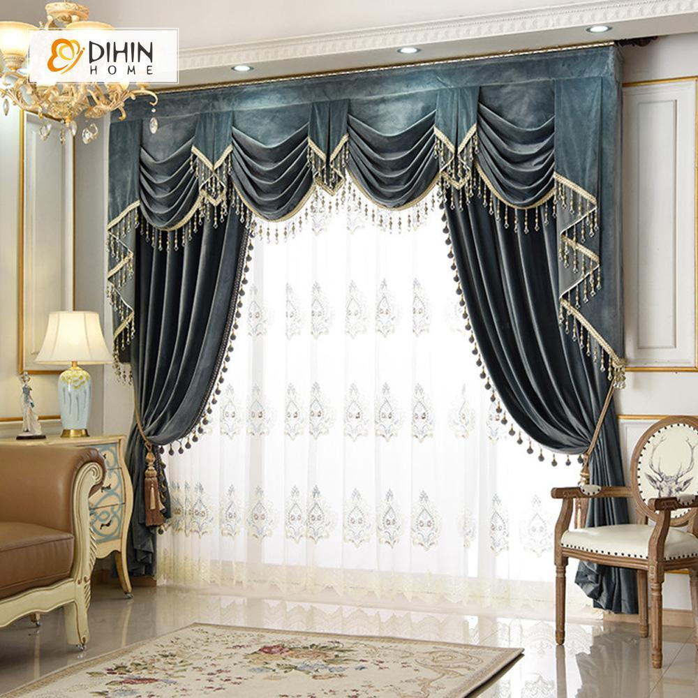 DIHIN HOME Dark Color Velvet Luxurious Valance ,Blackout Curtains Grommet  Window Curtain for Living Room ,52x84-inch,1 Panel