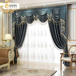 DIHINHOME Home Textile European Curtain DIHIN HOME Dark Color Velvet Luxurious Valance ,Blackout Curtains Grommet Window Curtain for Living Room ,52x84-inch,1 Panel