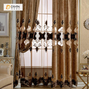 DIHINHOME Home Textile European Curtain DIHIN HOME Dark Luxury Embroidered,Polyester,Blackout Grommet Window Curtain for Living Room ,52x63-inch,1 Panel
