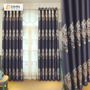 DIHINHOME Home Textile European Curtain DIHIN HOME Dark Purple Flowers Embroidered,Blackout Grommet Window Curtain for Living Room ,52x63-inch,1 Panel