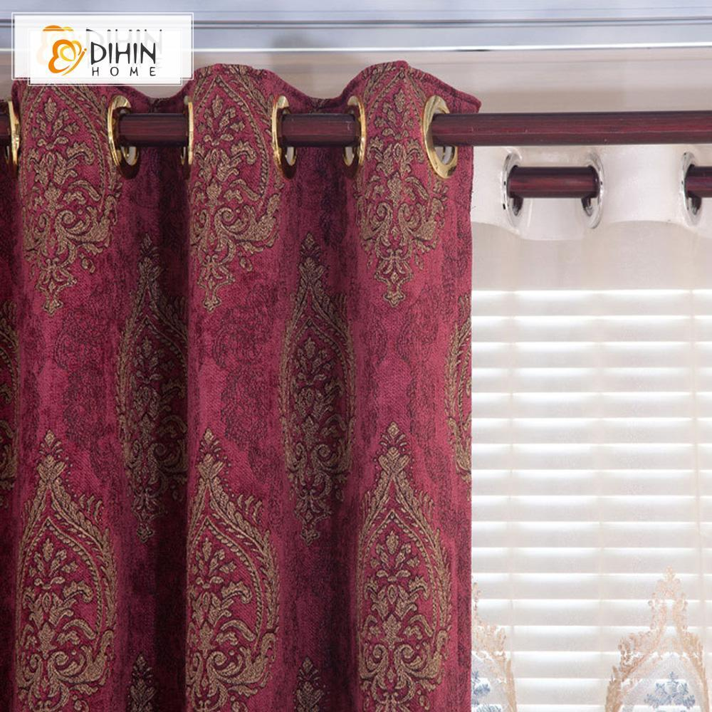 DIHIN HOME Dark Red Embroidered Valance,Blackout Curtains Grommet Window  Curtain for Living Room ,52x84-inch,1 Panel