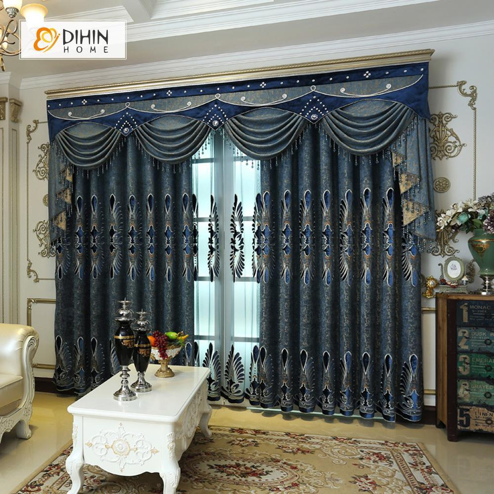DIHINHOME Home Textile European Curtain DIHIN HOME Deep Blue Exquisite Embroidered Valance ,Blackout Curtains Grommet Window Curtain for Living Room ,52x84-inch,1 Panel