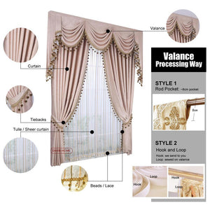 DIHIN HOME Elegant Beige Embroidered Valance,Blackout Curtains Grommet  Window Curtain for Living Room ,52x84-inch,1 Panel
