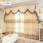 DIHINHOME Home Textile European Curtain DIHIN HOME Elegant Beige Embroidered Valance,Blackout Curtains Grommet Window Curtain for Living Room ,52x84-inch,1 Panel