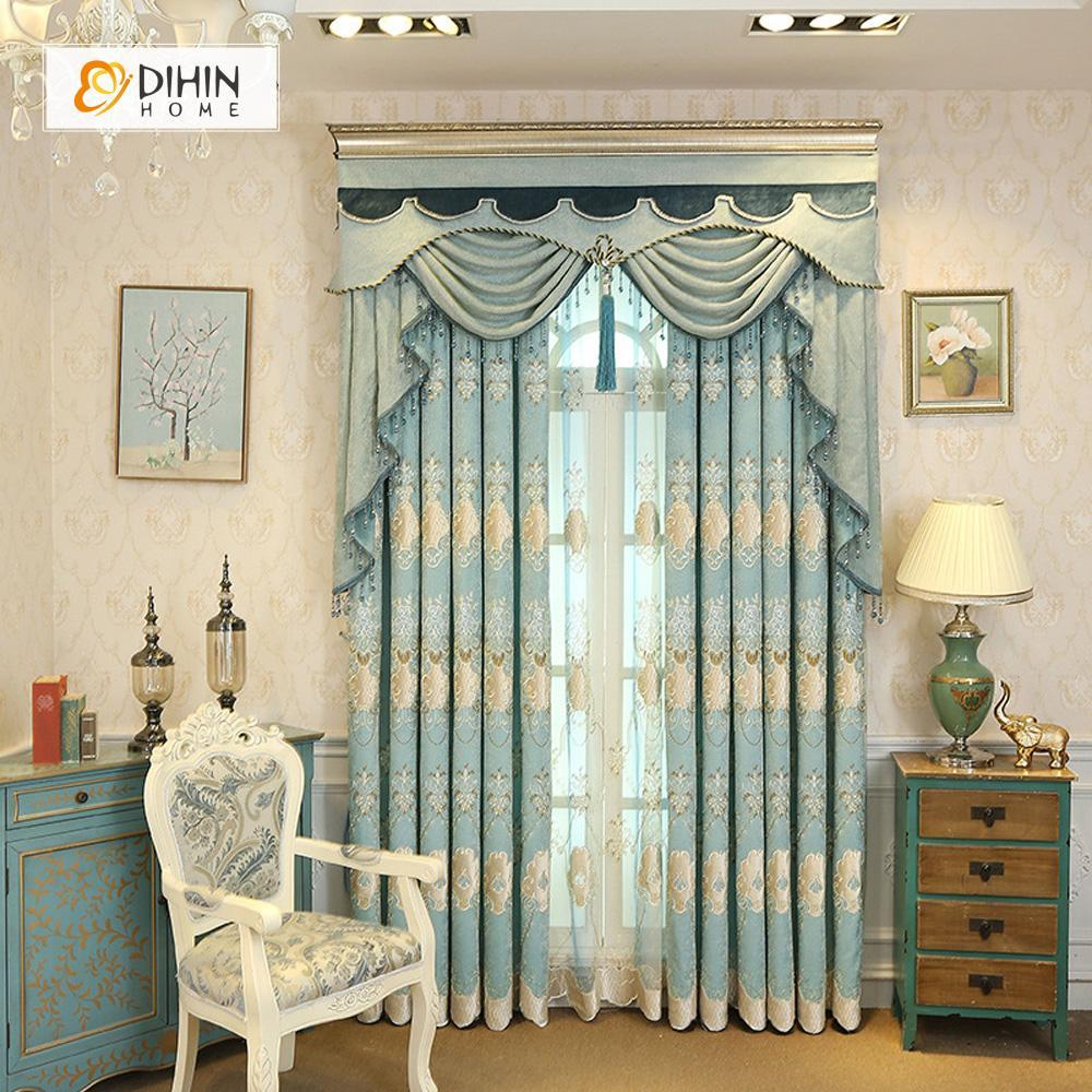 DIHINHOME Home Textile European Curtain DIHIN HOME Elegant Embroidered Light Blue Valance,Blackout Curtains Grommet Window Curtain for Living Room ,52x84-inch,1 Panel