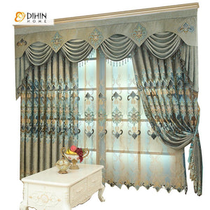 DIHINHOME Home Textile European Curtain DIHIN HOME Elegant Flower Embroidered,Blackout Grommet Window Curtain for Living Room ,52x63-inch,1 Panel