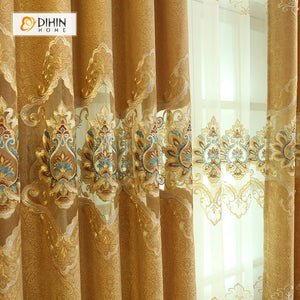 DIHINHOME Home Textile European Curtain DIHIN HOME Elegant Flowers Embroidered Brown Curtain,Blackout Curtains Grommet Window Curtain for Living Room ,52x84-inch,1 Panel