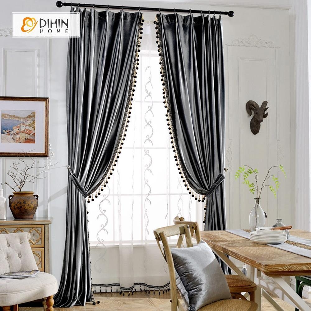 DIHINHOME Home Textile European Curtain DIHIN HOME Elegant Solid Grey,Blackout Curtains Grommet Window Curtain for Living Room ,52x84-inch,1 Panel