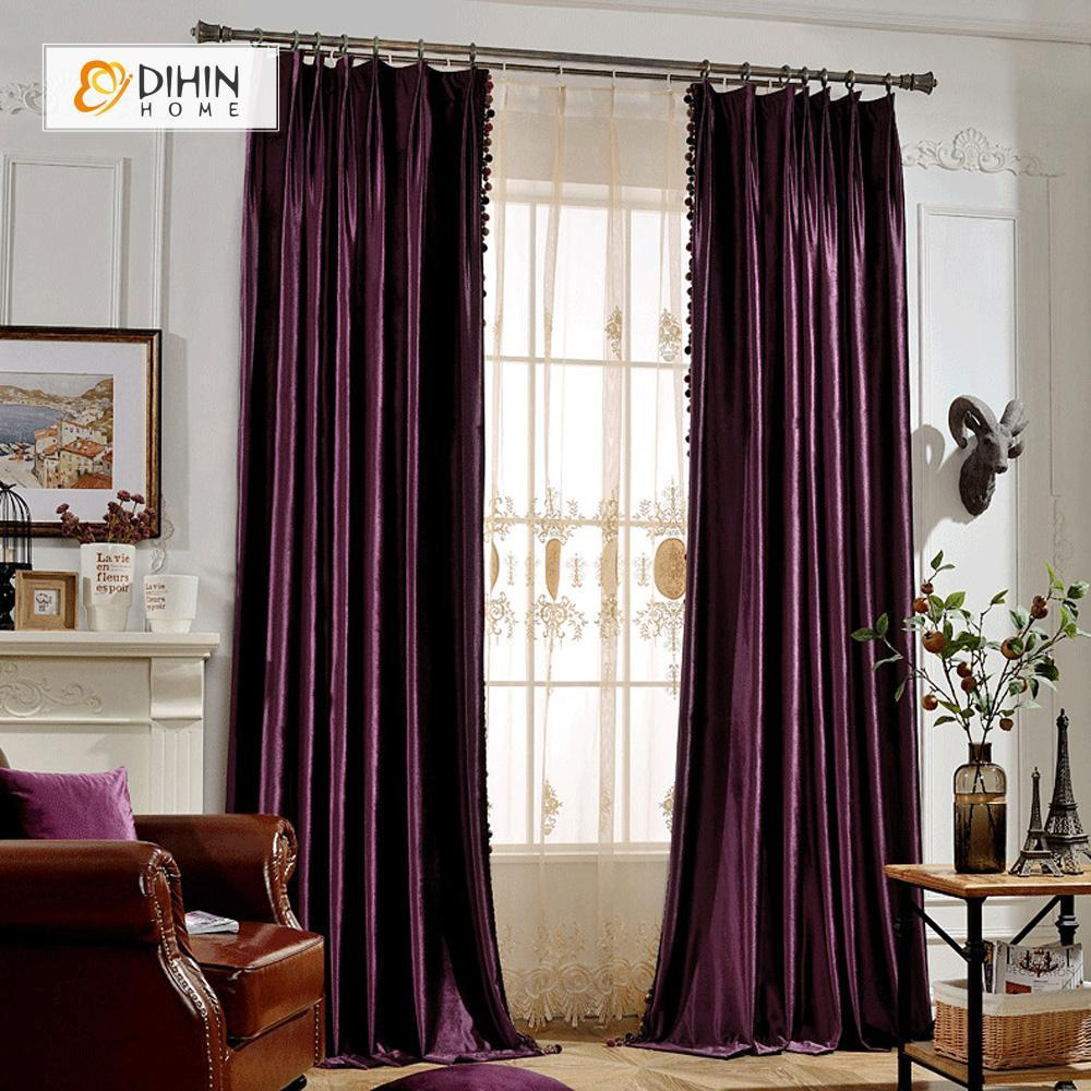 DIHINHOME Home Textile European Curtain DIHIN HOME Elegant Solid Purple,Blackout Curtains Grommet Window Curtain for Living Room ,52x84-inch,1 Panel