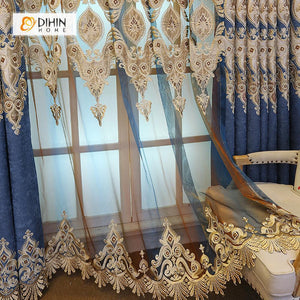 DIHINHOME Home Textile European Curtain DIHIN HOME Elegant White Embroidered Blue Valance ,Blackout Curtains Grommet Window Curtain for Living Room ,52x84-inch,1 Panel
