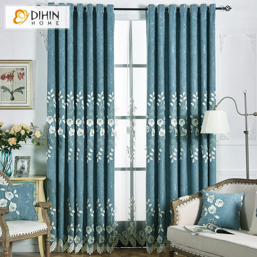 DIHIN HOME Elegant White FLowers Embroidered,Blackout Curtains Grommet  Window Curtain for Living Room ,52x84-inch,1 Panel