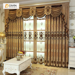 DIHINHOME Home Textile European Curtain DIHIN HOME Ellipse Luxurious Exquisite Embroidered Valance ,Blackout Curtains Grommet Window Curtain for Living Room ,52x84-inch,1 Panel