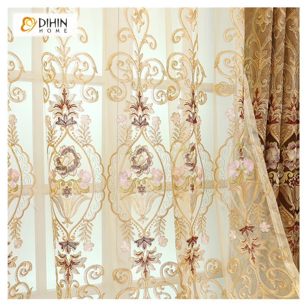 DIHINHOME Home Textile European Curtain DIHIN HOME Embroidered Brown Valance ,Blackout Curtains Grommet Window Curtain for Living Room ,52x84-inch,1 Panel