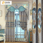 DIHINHOME Home Textile European Curtain DIHIN HOME  European Abstract Style Embroidered Valance ,Blackout Curtains Grommet Window Curtain for Living Room ,52x84-inch,1 Panel