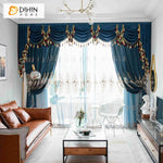 DIHINHOME Home Textile European Curtain DIHIN HOME European Blue Color Customized Valance ,Blackout Curtains Grommet Window Curtain for Living Room ,52x84-inch,1 Panel