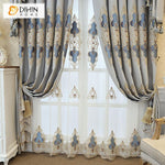 DIHINHOME Home Textile European Curtain DIHIN HOME European Blue Embroidered,Blackout Curtains Grommet Window Curtain for Living Room ,52x84-inch,1 Panel