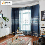 DIHINHOME Home Textile European Curtain DIHIN HOME  European Blue Embroidered Valance,Blackout Curtains Grommet Window Curtain for Living Room ,52x90-inch,1 Panel