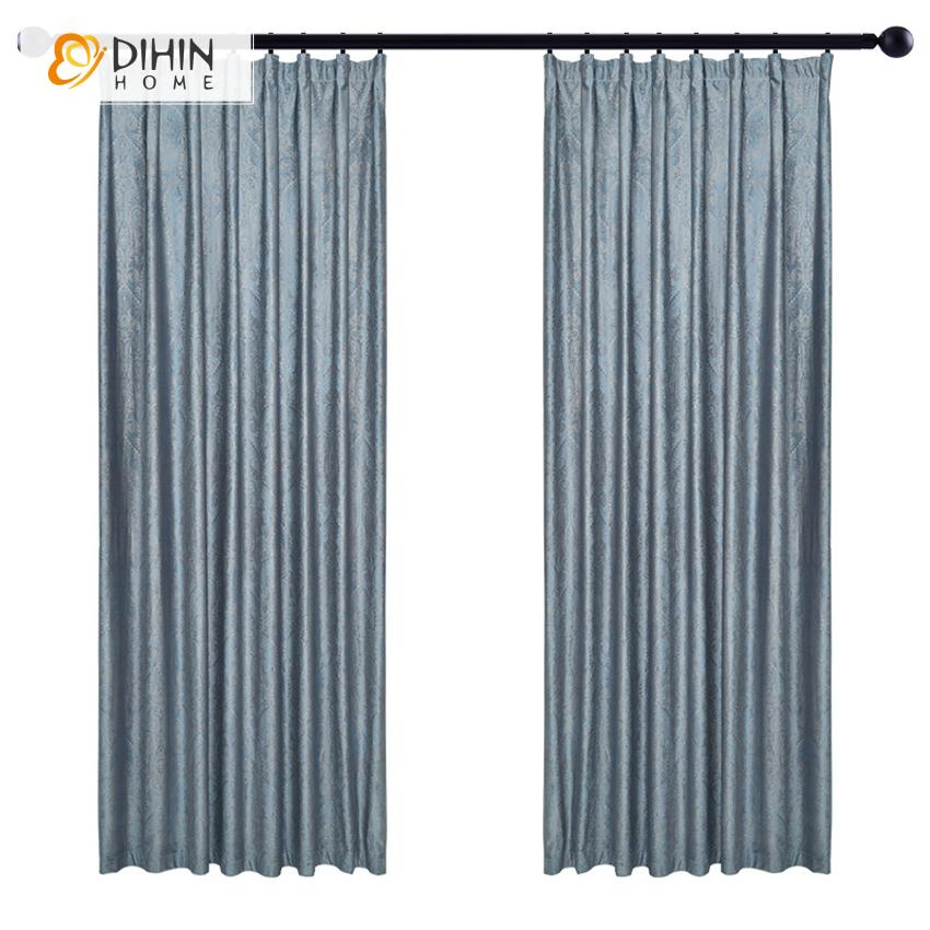 DIHINHOME Home Textile European Curtain DIHIN HOME European Brief Jacquard Customized Curtains,Blackout Grommet Window Curtain for Living Room ,52x63-inch,1 Panel