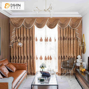 DIHINHOME Home Textile European Curtain DIHIN HOME European Coffee Color Customized Valance ,Blackout Curtains Grommet Window Curtain for Living Room ,52x84-inch,1 Panel