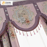 DIHINHOME Home Textile European Curtain DIHIN HOME European Embroidered Pink Color Curtain High Quality Valance ,Blackout Curtains Grommet Window Curtain for Living Room ,52x84-inch,1 Panel