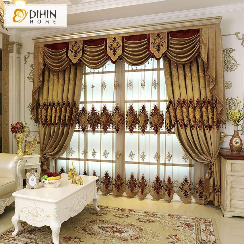 DIHINHOME Home Textile European Curtain DIHIN HOME European Embroidered Valance ,Blackout Curtains Grommet Window Curtain for Living Room ,52x84-inch,1 Panel