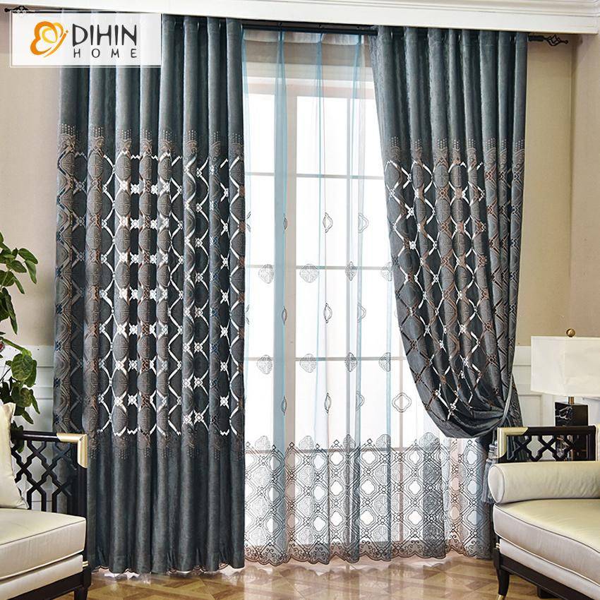 DIHINHOME Home Textile European Curtain DIHIN HOME European Luxurious Abstract Geometry Embroidered,Blackout Curtains Grommet Window Curtain for Living Room ,52x84-inch,1 Panel