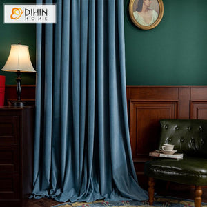 DIHINHOME Home Textile European Curtain DIHIN HOME European Luxury Blue Color Velvet Cloth,Blackout Grommet Window Curtain for Living Room ,52x63-inch,1 Panel
