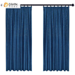 DIHINHOME Home Textile European Curtain DIHIN HOME European Luxury Blue Jacquard ,Blackout Grommet Window Curtain for Living Room ,52x63-inch,1 Panel