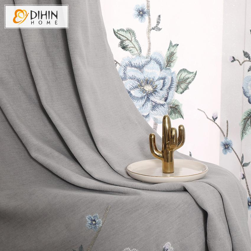 DIHINHOME Home Textile European Curtain DIHIN HOME European Luxury Cotton Linen Blue Flower Embroidered,Blackout Grommet Window Curtain for Living Room ,52x63-inch,1 Panel