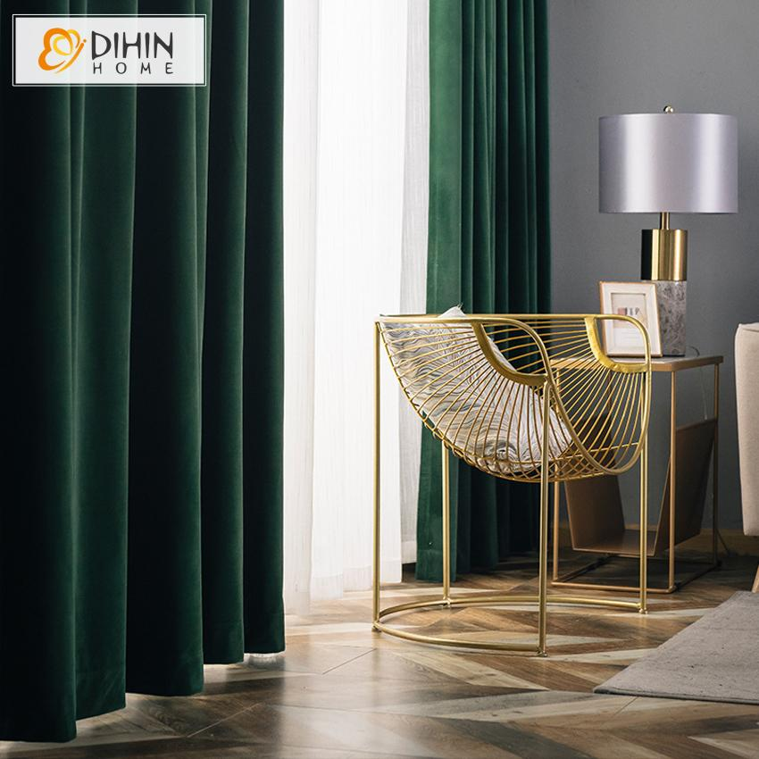 DIHINHOME Home Textile European Curtain DIHIN HOME European Luxury Dark Green Color Velvet Cloth,Blackout Grommet Window Curtain for Living Room ,52x63-inch,1 Panel