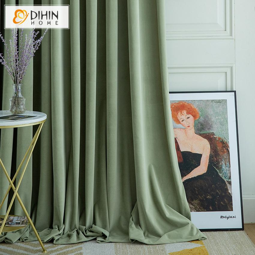 DIHINHOME Home Textile European Curtain DIHIN HOME European Luxury Green Color Velvet Cloth,Blackout Grommet Window Curtain for Living Room ,52x63-inch,1 Panel