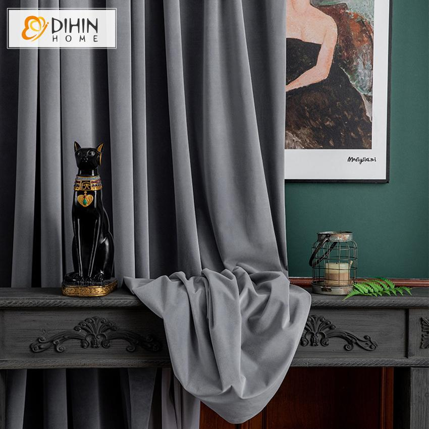 DIHINHOME Home Textile European Curtain DIHIN HOME European Luxury Grey Color Velvet Cloth,Blackout Grommet Window Curtain for Living Room ,52x63-inch,1 Panel