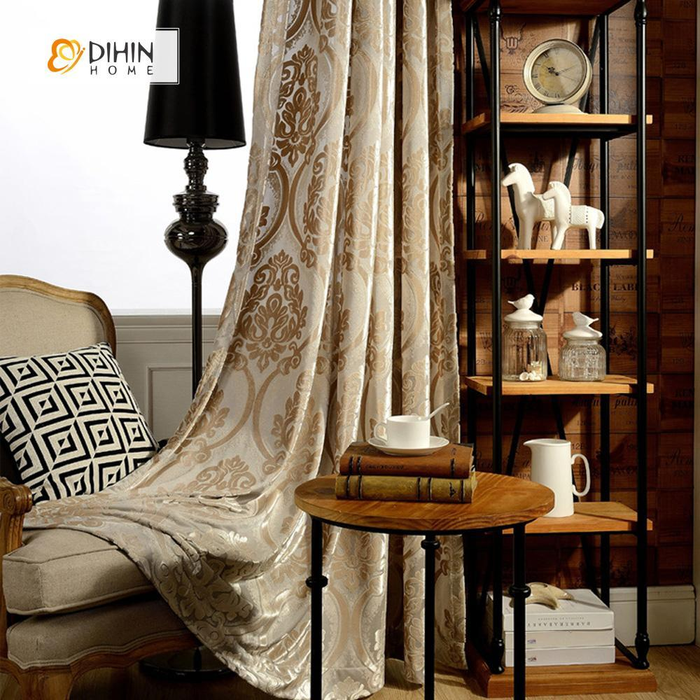 DIHINHOME Home Textile European Curtain DIHIN HOME European Luxury Jacquard Curtain ,Velvet ,Blackout Grommet Window Curtain for Living Room ,52x63-inch,1 Panel