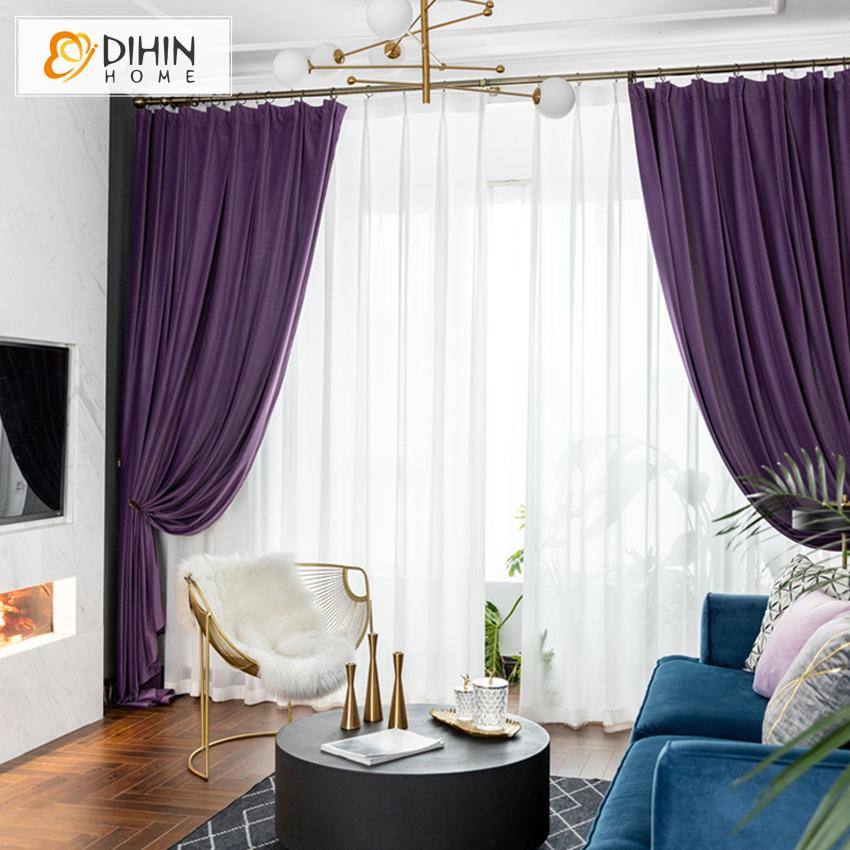DIHINHOME Home Textile European Curtain DIHIN HOME European Luxury Velvet Purple Curtains,Blackout Grommet Window Curtain for Living Room ,52x63-inch,1 Panel