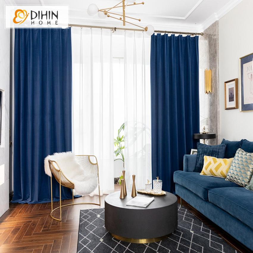 DIHINHOME Home Textile European Curtain DIHIN HOME European Luxury Velvet Sapphire Blue Curtains,Blackout Grommet Window Curtain for Living Room ,52x63-inch,1 Panel