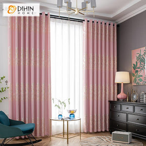 DIHINHOME Home Textile European Curtain DIHIN HOME European Pink Color Jacquard,Blackout Grommet Window Curtain for Living Room ,52x63-inch,1 Panel