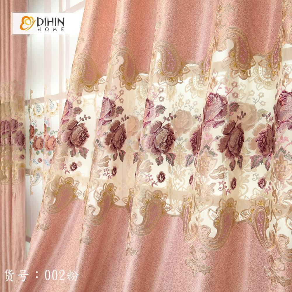 DIHINHOME Home Textile European Curtain DIHIN HOME European Pink Embroidered Valance ,Blackout Curtains Grommet Window Curtain for Living Room ,52x84-inch,1 Panel
